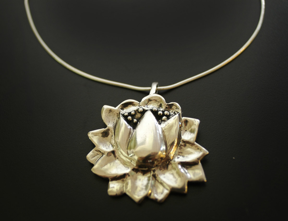 Large Lotus Flower Necklace In Sterling Silver Hi Octane Jewelry